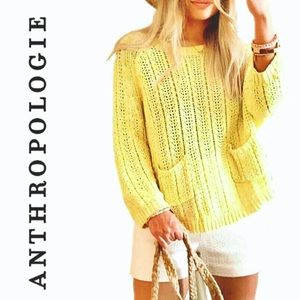 EUC Anthropologie Moth Neon Yellow Sweater